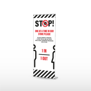 SOCIAL DISTANCING ROLLER BANNER, POP UP BANNER, ROLL UP BANNER